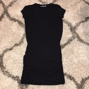 Athleta Black Cotton Ruched Knee Length Dress S